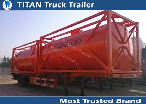 China 20ft 40ft Container diesel fuel tank trailer with carbon steel tank body supplier