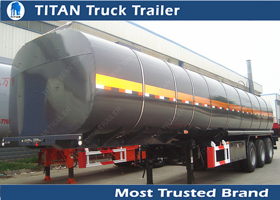 China 5mm Thickness Tank asphalt bitumen heavy oil tanker trailer with heating device factory