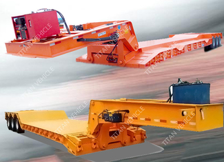 China Hydraulic Detachable Gooseneck Lowboy Trailer 100 Ton For Excavator Transport supplier