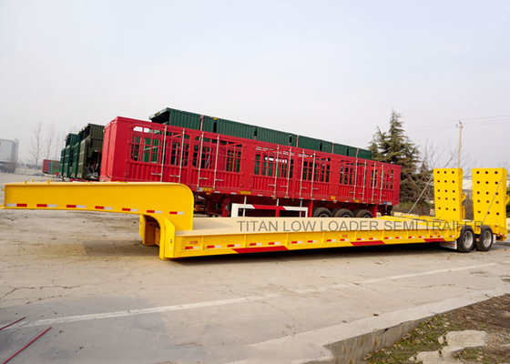 China Heavy duty 2 lines 4 Axle low loader trailer hydraulic platform trailer supplier