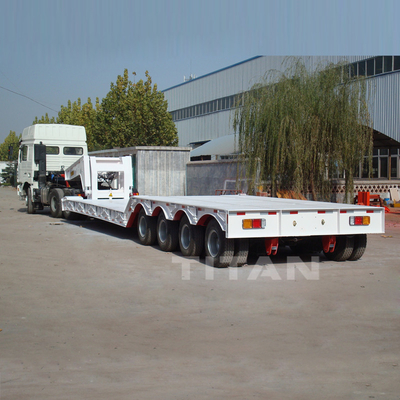 China 4 axles 100 ton 120 tonne hydraulic removable detachable goose neck lowboy low loaders trailer supplier