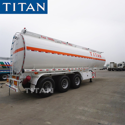 China tri-axle fuel tanker truck trailer carbon steel 40,000 liters fuel tank trailer factory