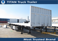 China Detachable 40 foot Flatbed Semi Trailer with 3 axles 3 * 15 tons 12 pcs Contact lock factory