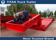 China Extendable 4 axles front loading Lowboy trailer with 80 tons load capacity company