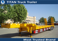China Heavy duty tri - axle 80 tons gooseneck low bed trailer for construction machinery factory