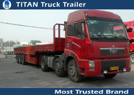 China 50 Tons tri - axle flatbed truck used semi trailer for container , hoses , cement bags factory