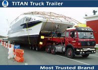 China 100 Ton Steel HG60 Heavy haul lowboy trailer , heavy semi boat trailer for yachts factory