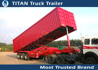 Triple Axles 60 - 80 Ton Construction Dump Trailer Hydraulics , Sand dumping trailer