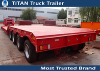 China Four Axle 80 ton Hydraulic Lowboy Gooseneck Trailers , semi low bed trailer factory