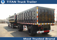 China Sand , stone transportation heavy duty cargo box trailer draw bar with 2 axles factory