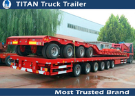 China 2 - 6 Axles Extendable Flatbed Trailer For Transporting pipes Long Materials factory