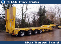 China 2 / 3 Axles 50tons Heavy low bed trailer with hydraulic loading cramps factory