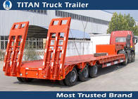 4 Axle Semi 80 Ton Low Bed Truck Trailer For Heavy Duty Equipment Transport supplier