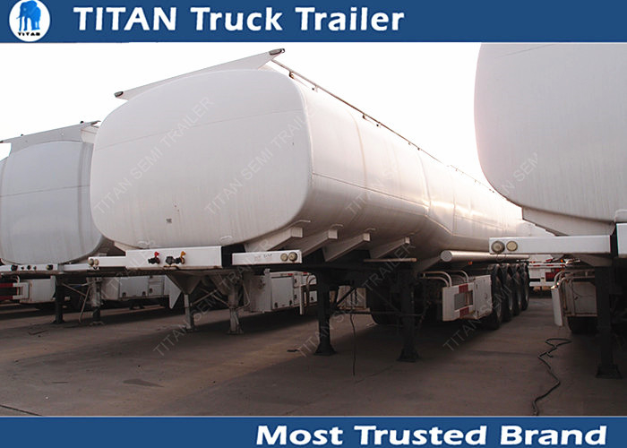 Carbon steel Used Semi Trailers , petroleum tank trailers with 4 axles 5 compartment supplier