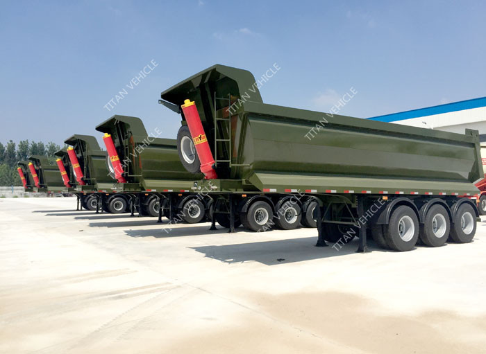3 axles half pipe type tipping Dump Trailer 50 - 80 ton Capacity supplier