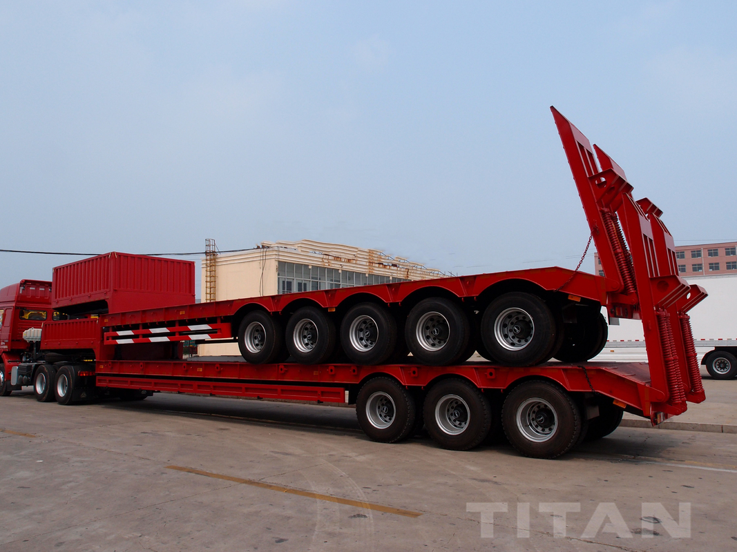 5 Axles Low bed Trailer with 80 tons trailer to carry construction equipment for sale supplier