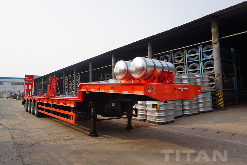 4 Axles Low bed Trailer with low bed trailer air suspension for sale supplier