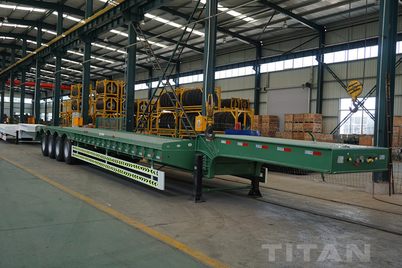 LOW BED TRAILERS 4 AXLES with lowboy truck dimensions for sale supplier