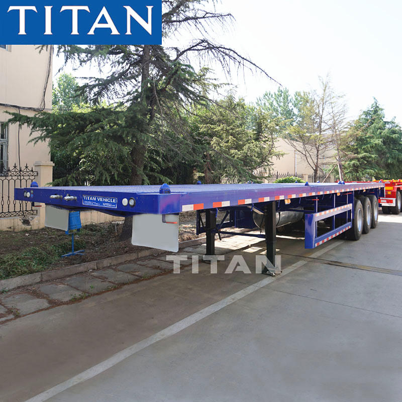 TITAN 50/60/70 ton 3 axles flatbed trailers with container lock  flatbed semi trailer supplier
