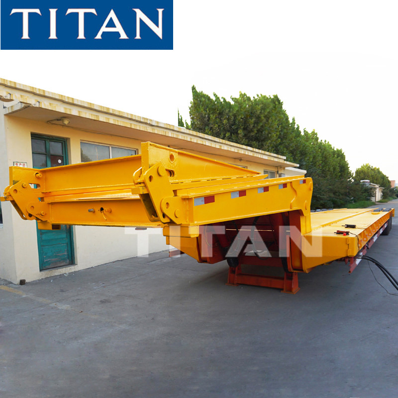 TITAN 80-100 ton heavy equipment folding military lowboy trailer supplier