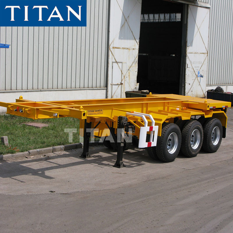 TITAN tri axle 40-60T container transport skeletal trailer for sale supplier