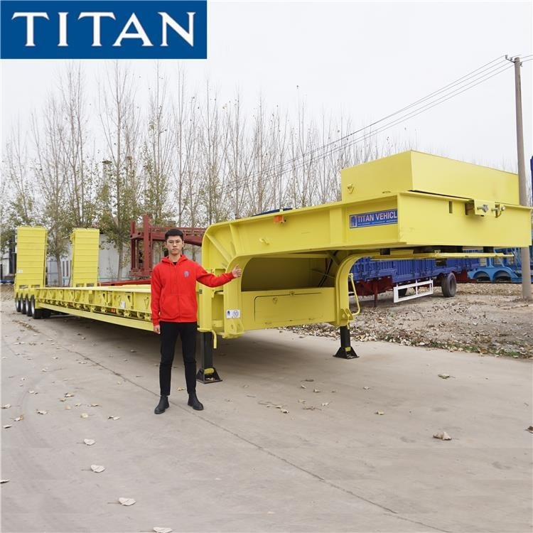 150 Tons Low Bed Semi Trailer Transport Excavator Equipment supplier
