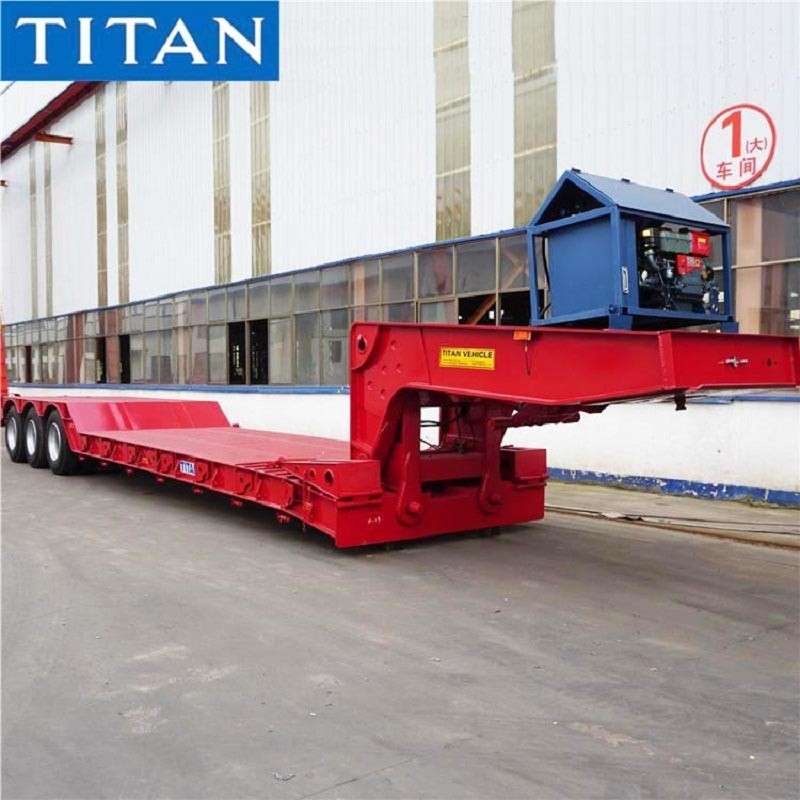China 3 axles 80 ton Removable Gooseneck Lowboy Trailer for Sale supplier