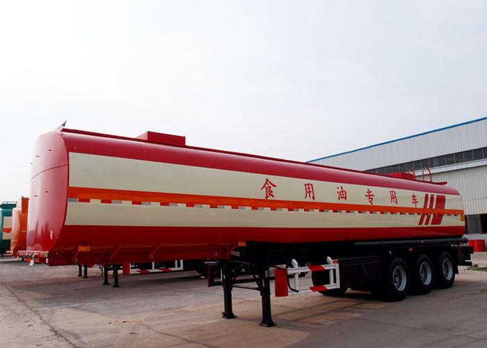 Red , white Carbon steel cooking oil / diesel tank trailer