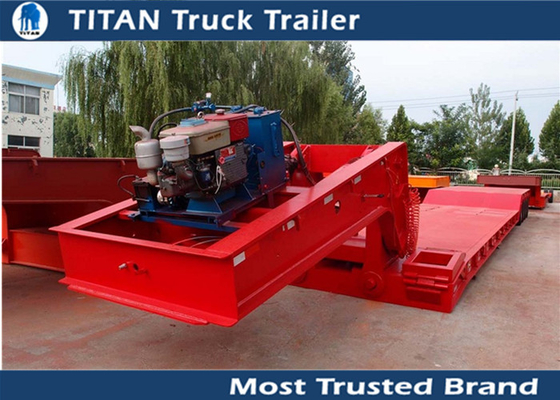 Extendable 4 axles front loading Lowboy trailer with 80 tons load capacity