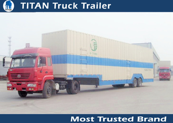 Dual Axle Enclosed 8 - 24 Cars auto transport trailers , heavy equipment trailer