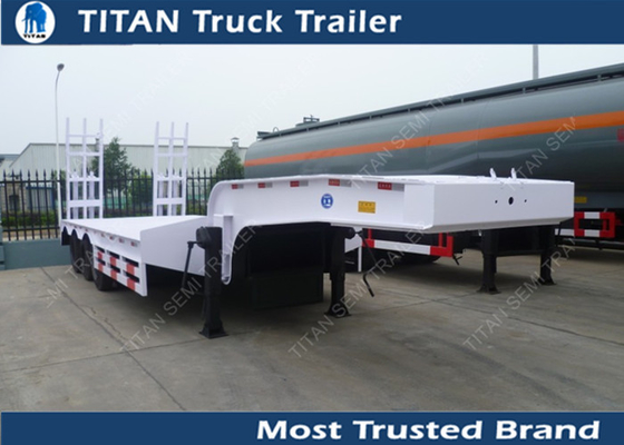 China Customized tri axle low loader heavy duty equipment trailers with JOST or FUWA landing gear factory