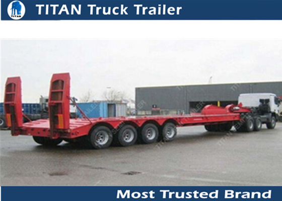 China Hydraulic low bed trailer , low profile 60 ton 4 axle 40ft gooseneck trailer factory