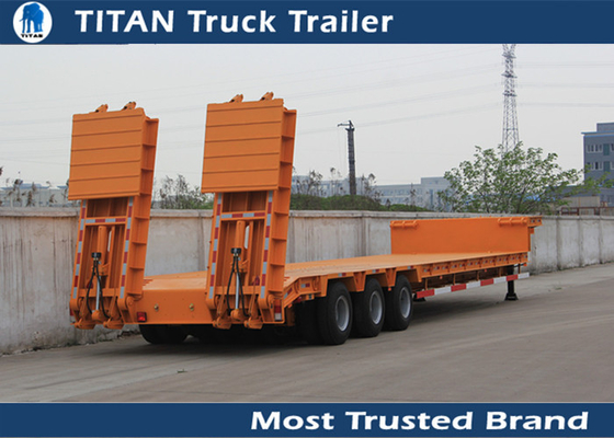 China Durable Truck Trailer 3 Axle 60 Ton Low Bed Trailer For excavator , bulk cargo factory