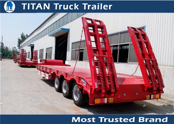 China Custom semi trailers vehicles , detachable low deck flatbed gooseneck trailers factory