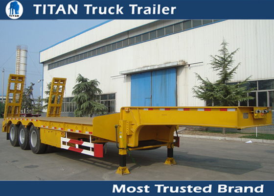 China 2 - 8 Axle 60 Ton Low Bed trailer for bulldozer , crushing machine ,  transformer factory