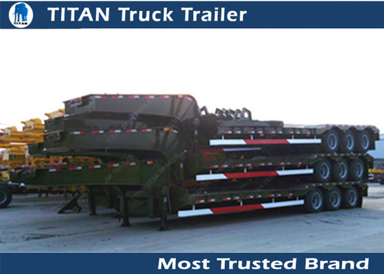China Hauler Truck Low Bed Trailer 3 Axle 80 Ton for road transportation , container trailer factory
