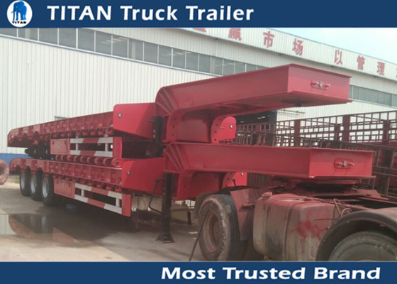 China 3 Axle 60 Ton hydraulic Low Bed Trailer for machinery , excavator , bulk cargo factory