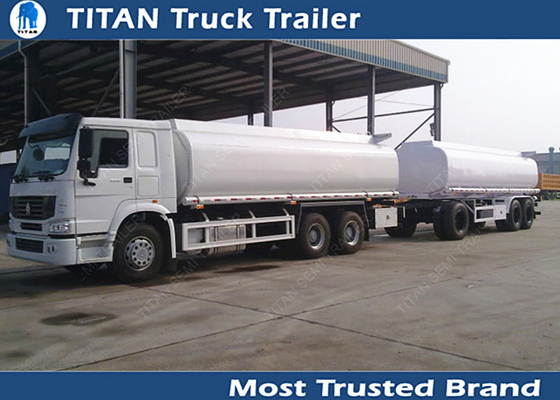 Advanced full draw bar semi monoblock tanker trailer truck with 3 axles