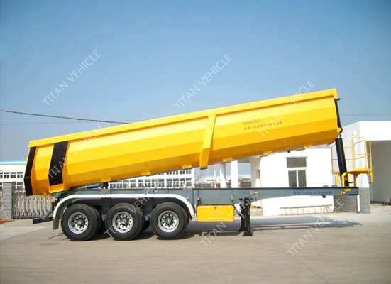 Hydraulic cylinder Heavy Duty Tipper Rear dump truck trailer for Stone , Mental