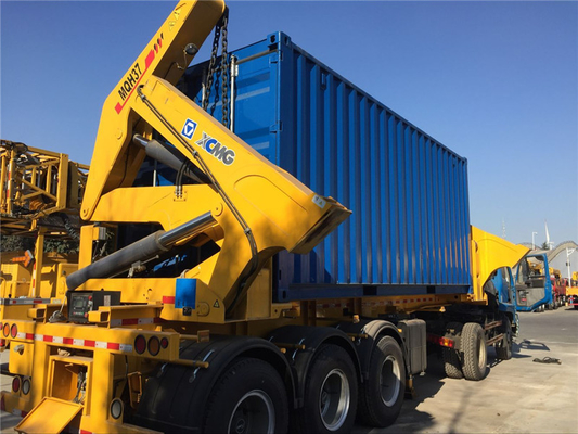 China Steel side loading trailer side lifter truck with XCMG cranes factory