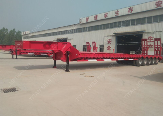China 5 axles drop bed low loader trailer for large contruction machinery factory