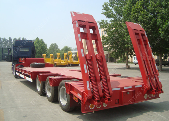 China 3 axles 80 ton low bed trailer pintle hitch trailers dimension optional factory