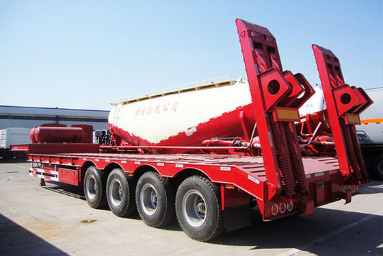 China Transport Construction Machinery Low Bed Trailer , Semi Trucks Cargo Trailer factory