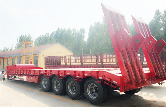 China Heavy Duty 4 axles 100 ton drop deck low bed semi trailers for Congo Market factory