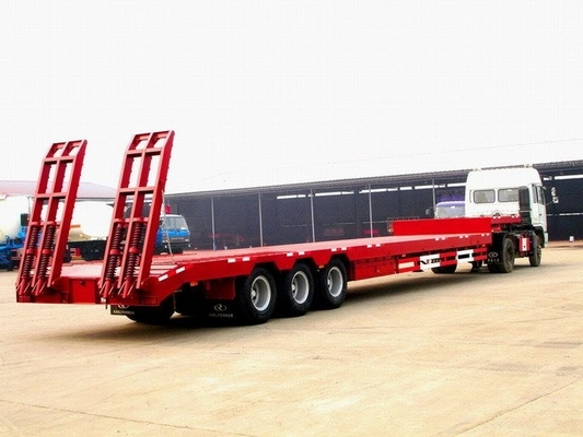 China 2 / 3 / 4 axles 120 tons low bed trailer semi trailer trucks factory