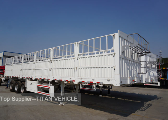 TITAN Tri - Axles Flatbed Semi Trailer with Fence for carrying 40ft  20ft container