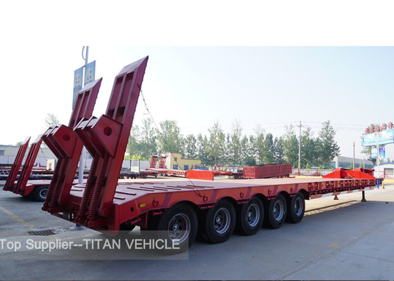 China TITAN 4 Axle lowbed semi trailer 100 ton 120 tons low load trailers factory