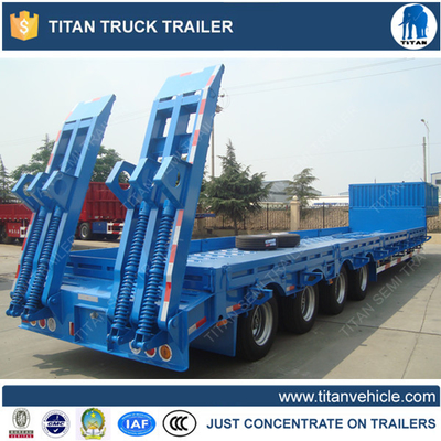 China 100 Ton 4 Axles lowboy semi trailers with sidewall for Maurituis factory