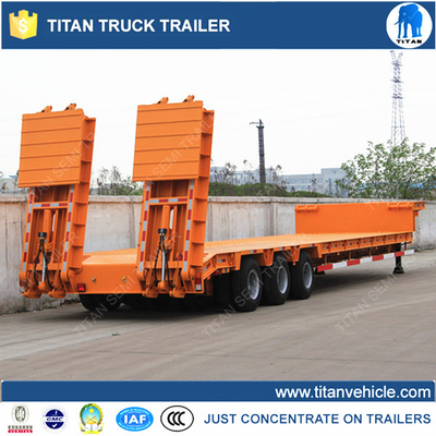 Tri - axle Multi Axle Trailer / low bed trailer with hydraulic loading ramps