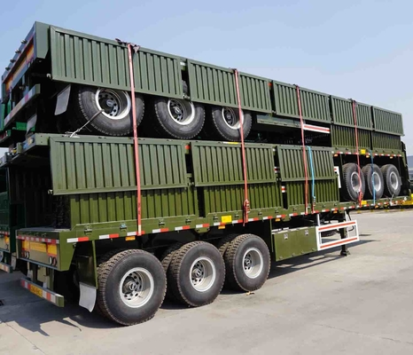 60 T Flatbed Semi Trailer 3 axle for bulk goods or container transporting